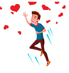 teen guy catching flying hearts vector image