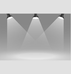 Three focus sportlights background in gray color vector
