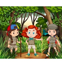 Three girls hiking in the jungle vector
