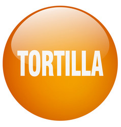 Tortilla orange round gel isolated push button vector