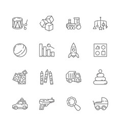 toys icon games cars bear rattle funny vector image