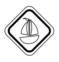 Traffic signal with sailboat ship isolated icon vector