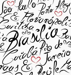 Travel Brazil destination words seamless pattern vector image