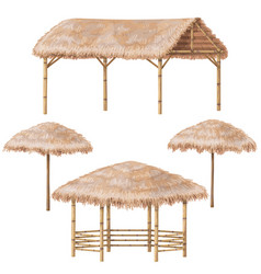 Tropic gazebo and parasol set vector