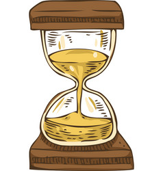 Vintage hourglass with sand vector