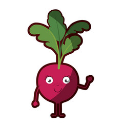 White background with cartoon of beet with leaves vector