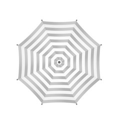 White Umbrella With Gray Stripes Top View vector