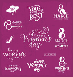 womens day typographical design elements vector image vector image