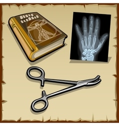 X-rays hand medical book and surgical instrument vector