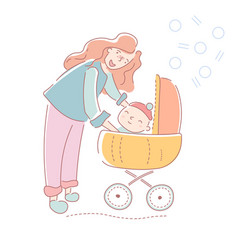 Young mother taking her small baby for a walk vector