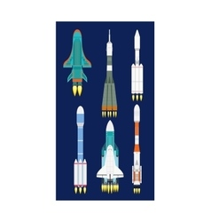 Rocket set isolated vector image vector image