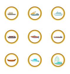 ship icons set cartoon style vector image vector image