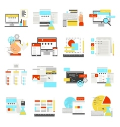 Web Design Flat Icon Set vector image vector image