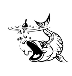 Fish catching a hook vector image vector image