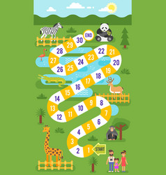 kids zoo animals board game template vector image vector image