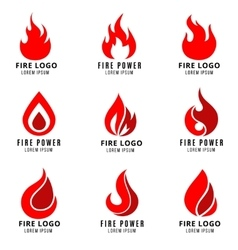 logo set with fire symbols vector image vector image