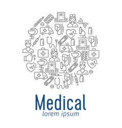 medical poster with flat icons vector image