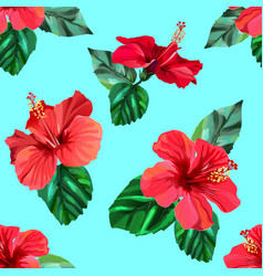 red hibiscus tropical flowers seamless pattern vector image