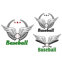 Baseball emblems with angel wings vector image
