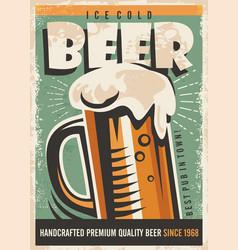 beer retro poster design vector image vector image