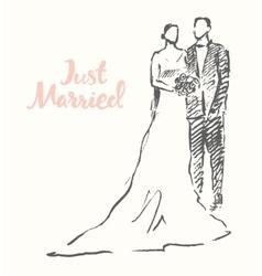 Drawn happy bride groom sketch vector