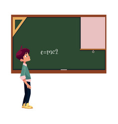 school boy stands at blackboard isolated vector image vector image
