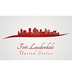 Fort Lauderdale skyline in red vector image