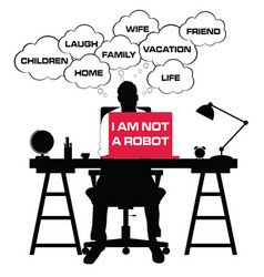 man silhouette with laptop and speech bubble vector image