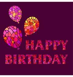 Original Watercolor mosaic Happy Birthday Greeting vector image