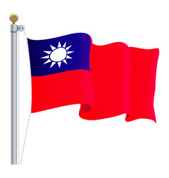 waving taiwan flag isolated on a white background vector image