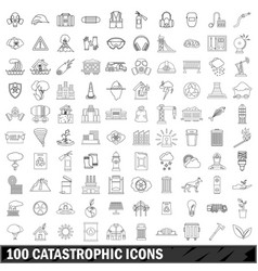 100 catastrophic icons set outline style vector
