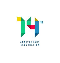 14 th anniversary celebration template design vector