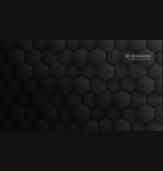3d hexagon pattern dark gray abstract background vector