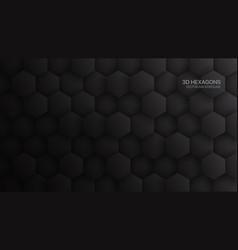 3d hexagon pattern dark gray abstract background vector image