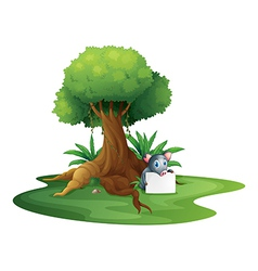 A pig holding a signage under the tree vector image