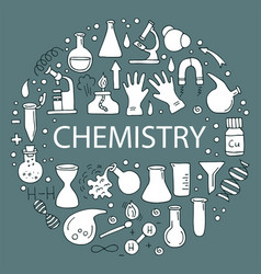 A set of icons on a theme chemistry vector