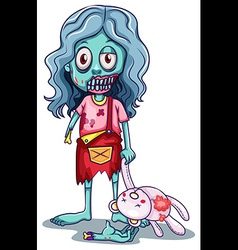 A young female zombie with a doll vector image