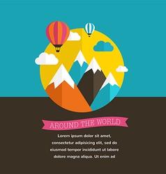 Air balloon sun and mountain backgrounds vector