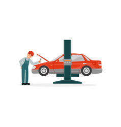 auto mechanic repairing red car lifted on auto vector image