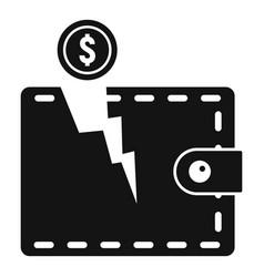 Bankrupt wallet icon simple style vector