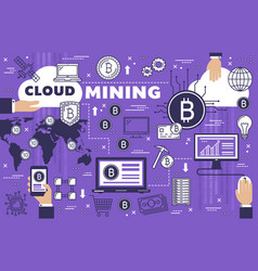 Bitcoin cryptocurrency cloud mining technology vector