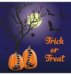 blue background Halloween style pumpkin vector image