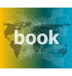 Book word on digital touch screen vector