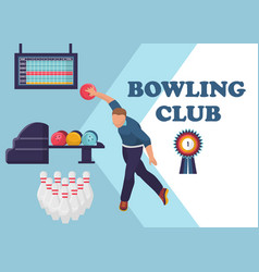 bowling tournament banner poster or flyer vector image