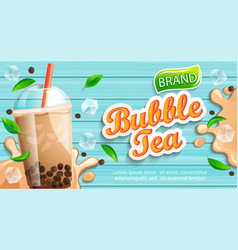 bubble milk tea banner with delicious tapioca vector image