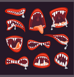 cartoon monster and devil mouth set vector image