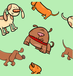 cartoon wrapping paper with dogs vector image