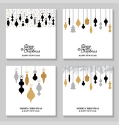 Christmas cards with baubles set vector