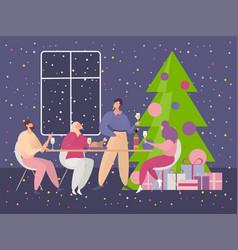 christmas party cartoon happy vector image