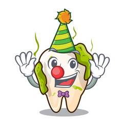 Clown cartoon decayed tooth with dental caries vector
